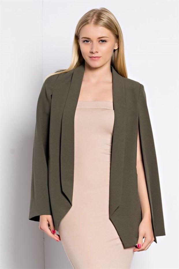 Olive green women's cape blazer, blue labels boutique