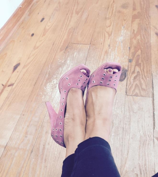 Pink suede BCBG heels