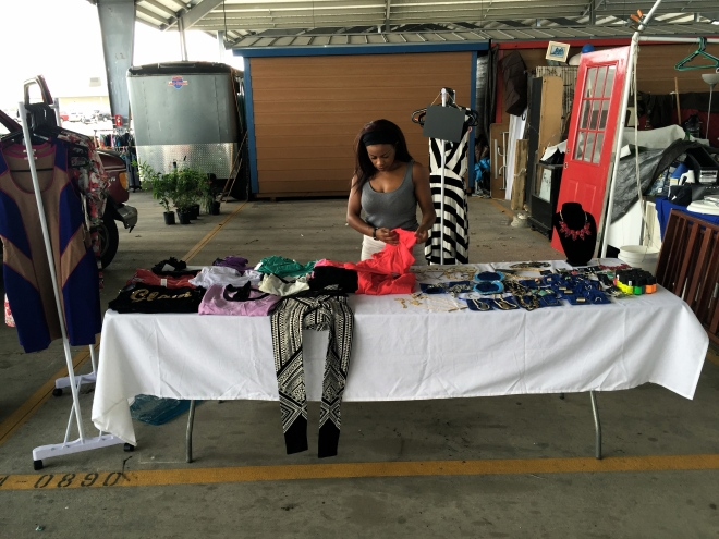 picture of selling at a garage sale blue labels boutique