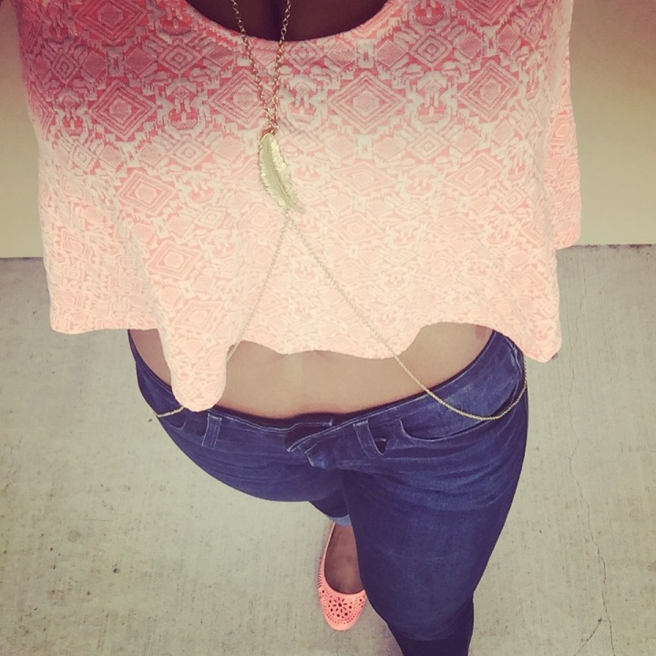 picture of peach printed crop top, gold body chain, and neon coral flats - blue labels boutique