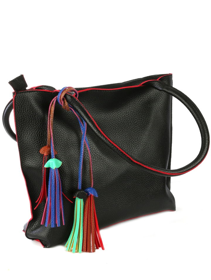 large faux leather handbag with colorful tassels blue labels boutique