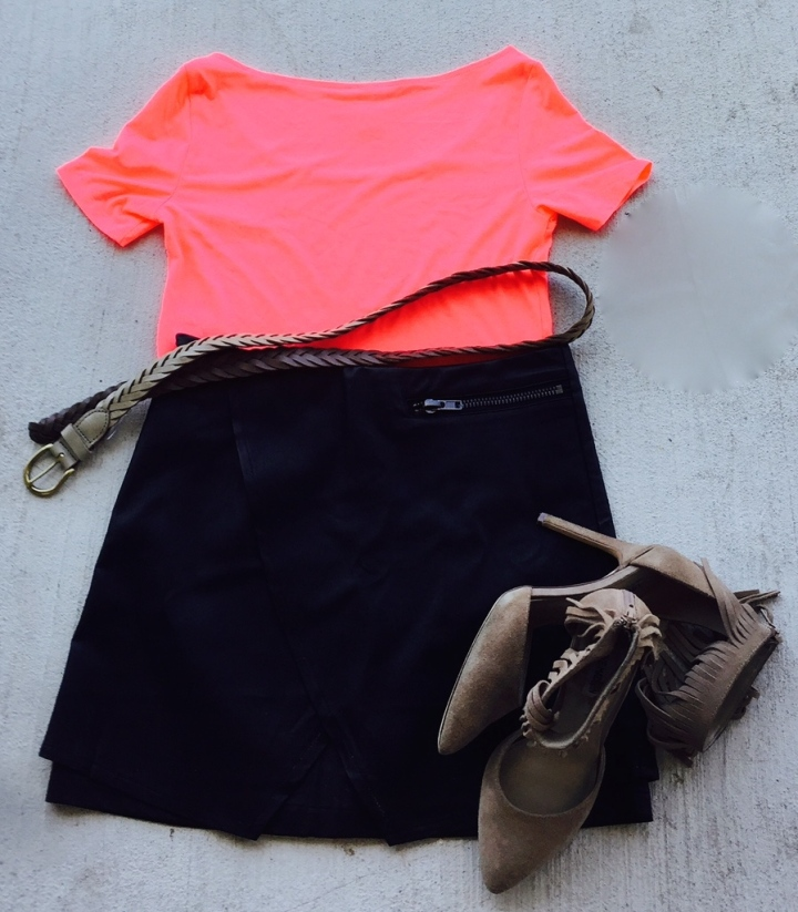 neon coral crop mini skirt tan braided belt fringe shoes