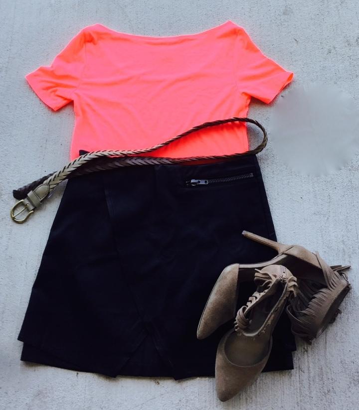 neon coral crop mini skirt tan braided belt fringe shoes