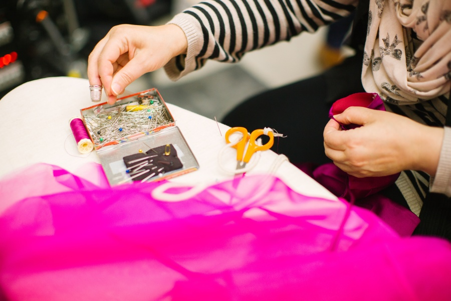 sewing neon pink fabric