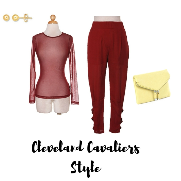 burgundy trousers, burgundy sheer top, yellow purse, gold stud earrings
