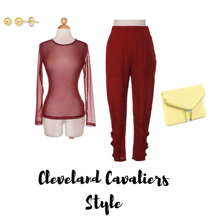 burgundy trousers, burgundy sheer top, yellow purse, gold stud earrings