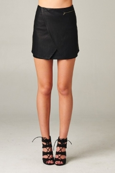 black leather mini wrap skirt blue labels boutique