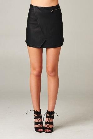 black leather mini wrap skirt blue labels boutique