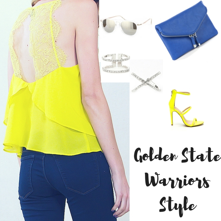 yellow lace tank, blue clutch, yellow heels