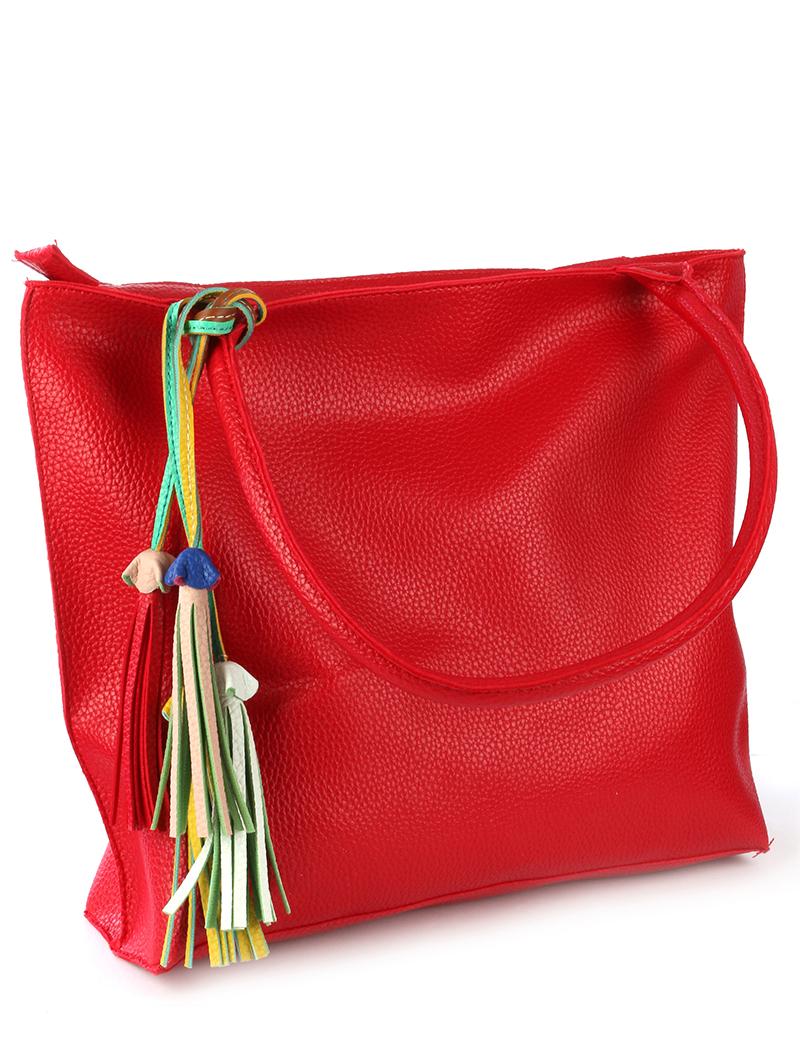 oversized red handbag blue labels boutique