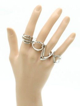 silver abstract ring set