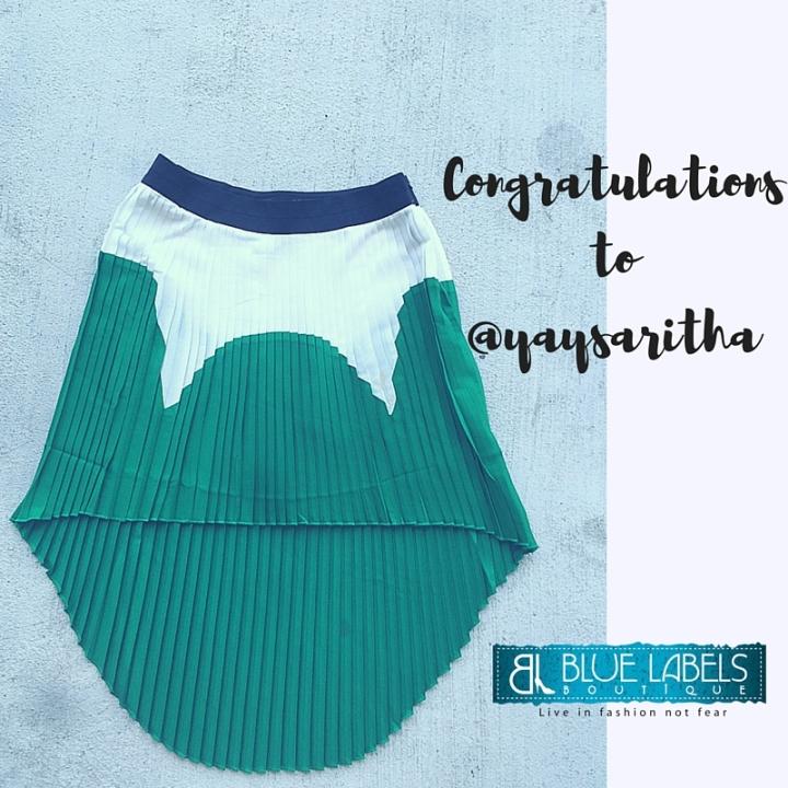 green, black, white, color block skirt, blue labels boutique