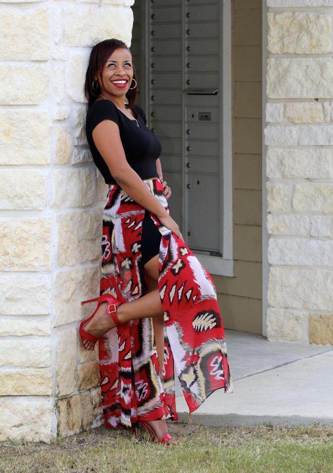 red printed sheer maxi skirt