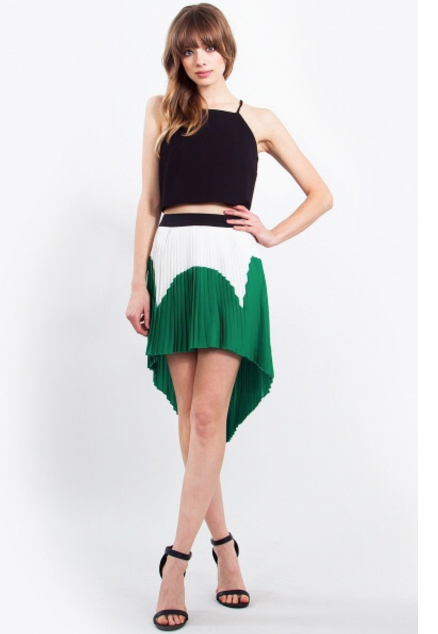 green, black, and white color block skirt blue labels boutique