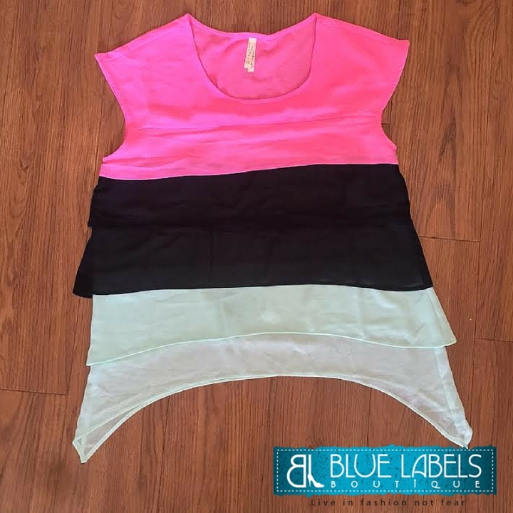 pink, black, mint, short sleeve chiffon top