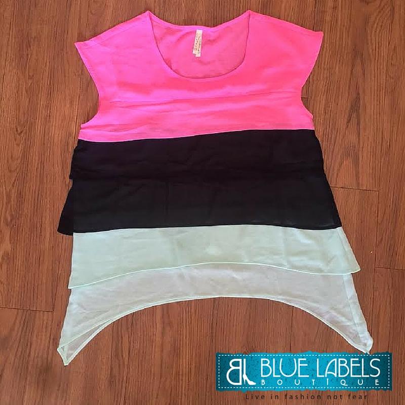 pink, black, mint, short sleeve chiffon top