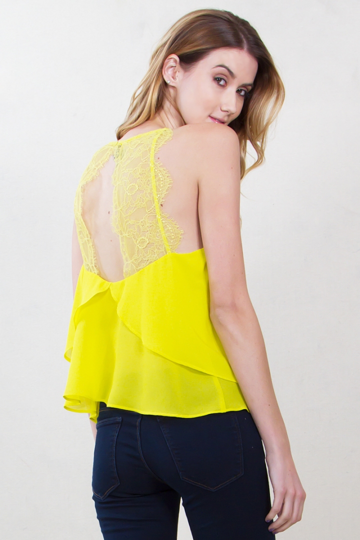 Yellow Lace Back Tank Blue Labels Boutique