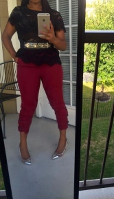burgundy pants black lace top belt with spikes