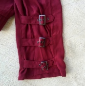 burgundy trousers with buckle