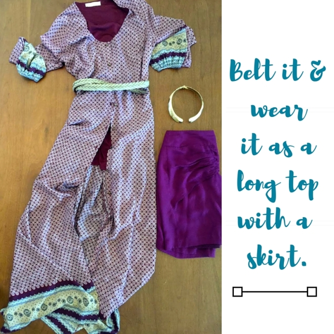 burgundy printed dress with skirt collage