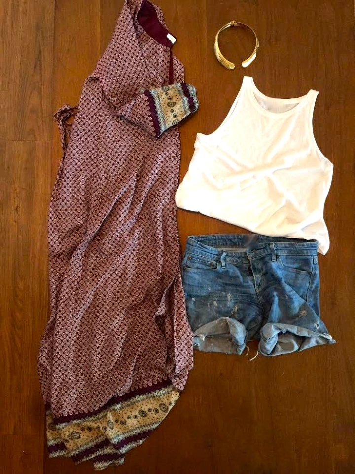 burgundy printed maxi dress cutoff shorts white tank