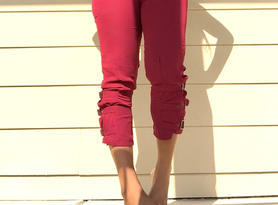 womens burgundy trousers with side buckles