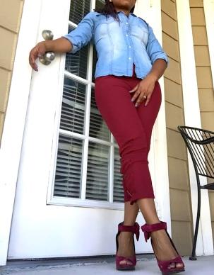 denim top burgundy pants burgundy heels