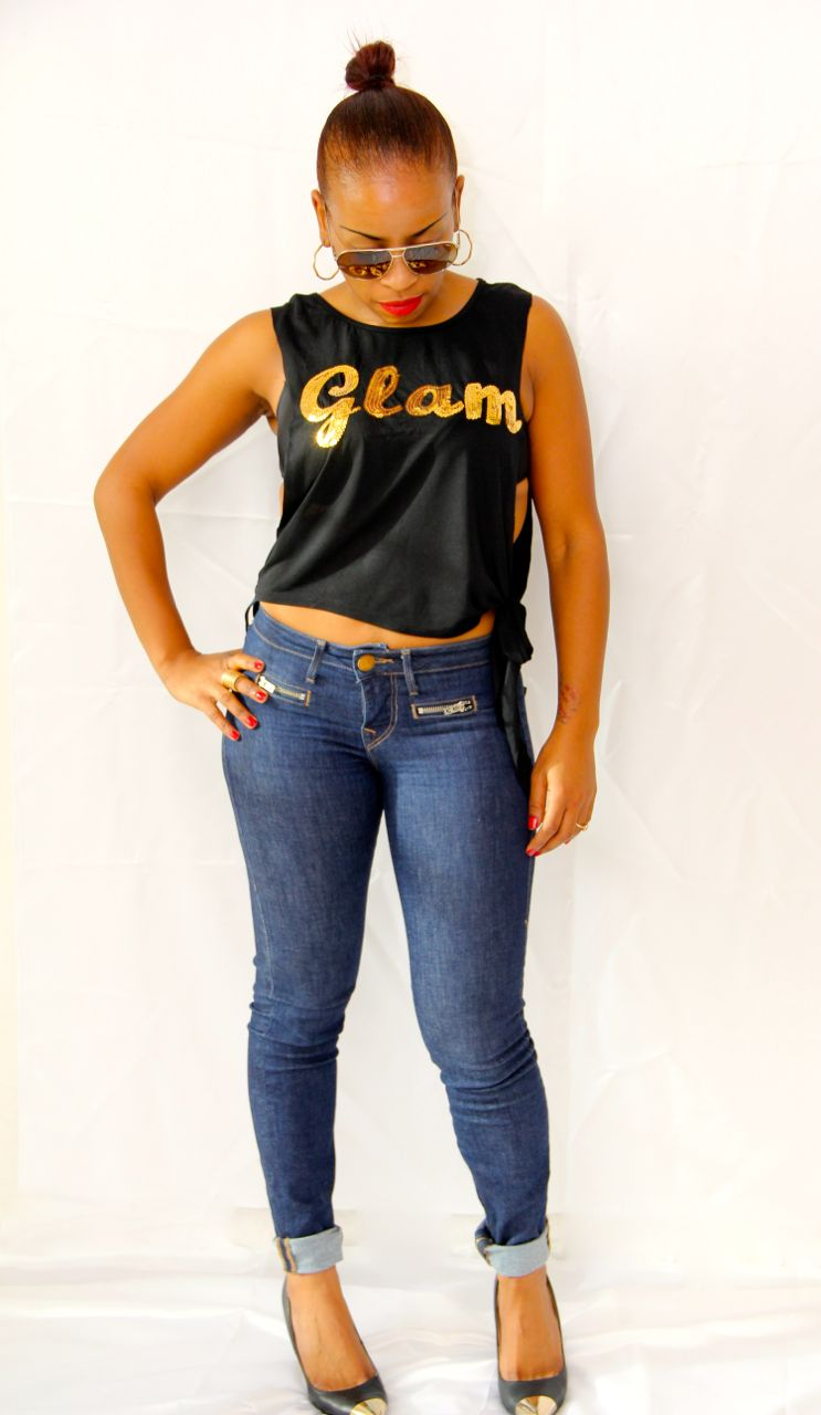 black tank with gold sequin