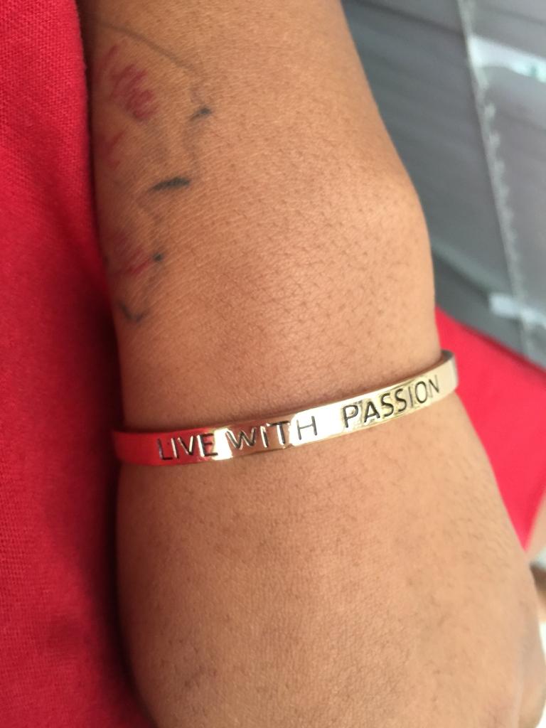 gold live your passion bangle blue labels boutique