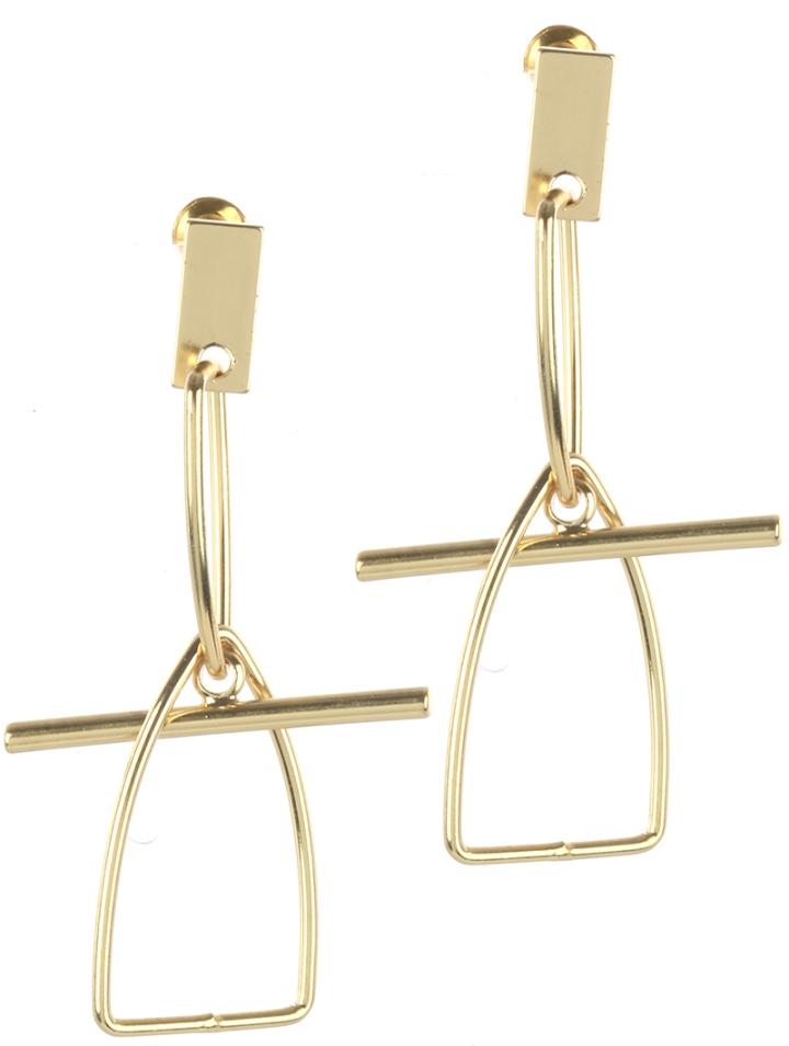 gold geometric shaped earrings blue labels boutique