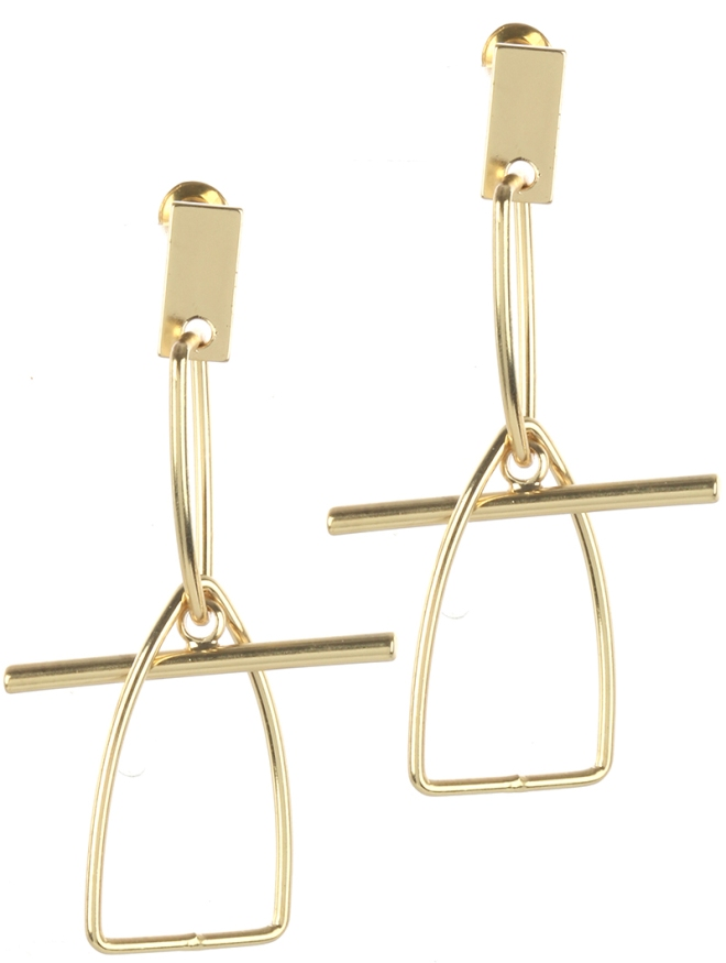 gold geometric shape earrings blue labels boutique