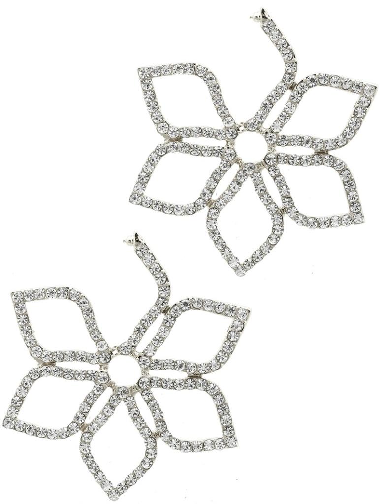 crystal flower shape earrings blue labels boutique