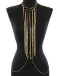 Gold fringe body chain blue labels boutique