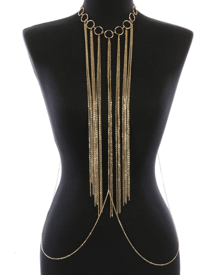 Gold fringe body chain blue labels boutique