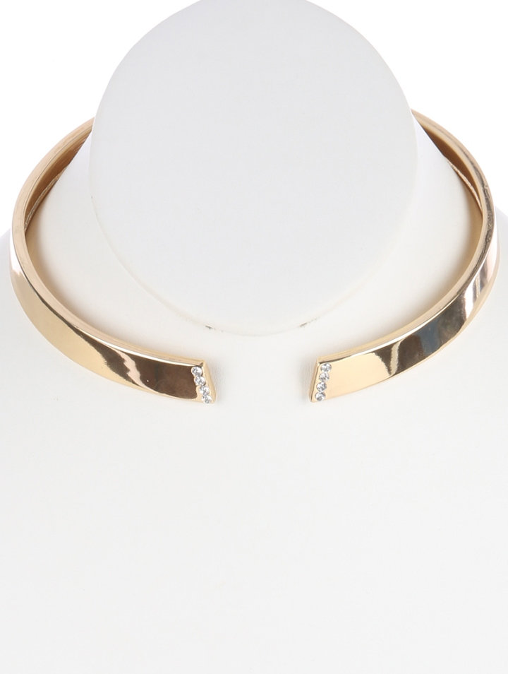 gold choker necklace with crystals blue labels boutique