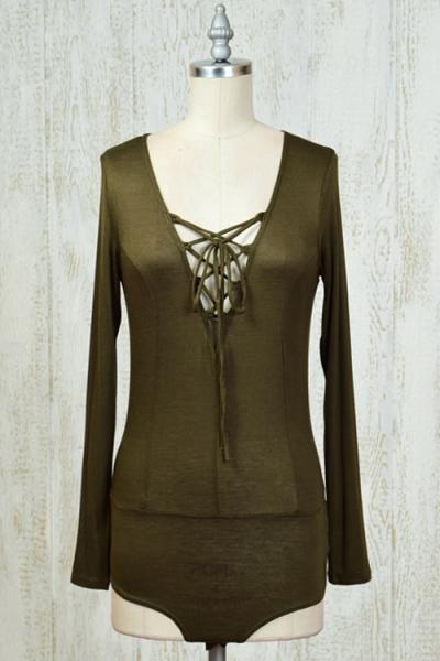 Olive colored bodysuit