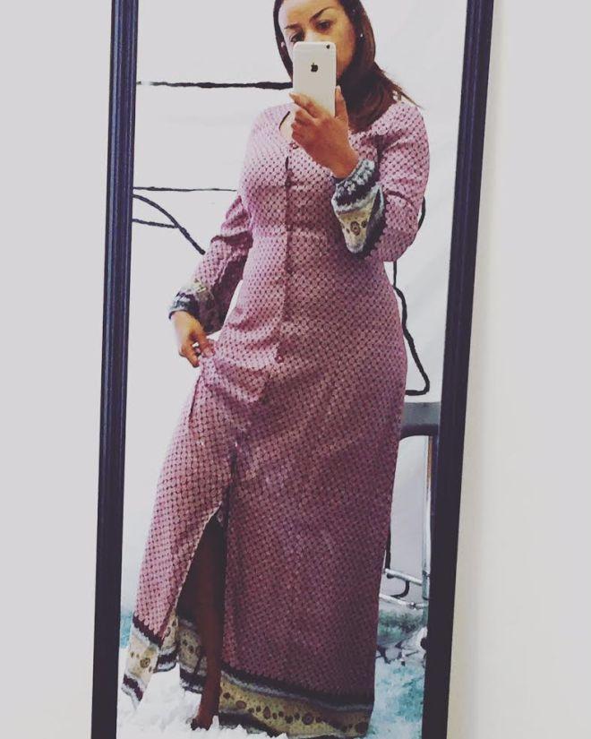 printed maxi dress selfie in mirror