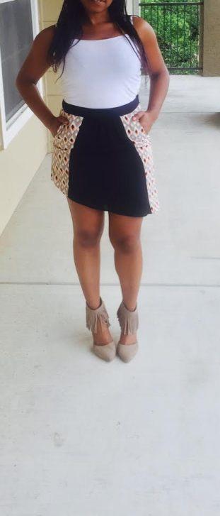 printed mini skirt with asymmetrical