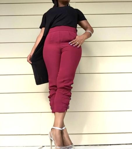 black high low top burgundy pants silver shoes