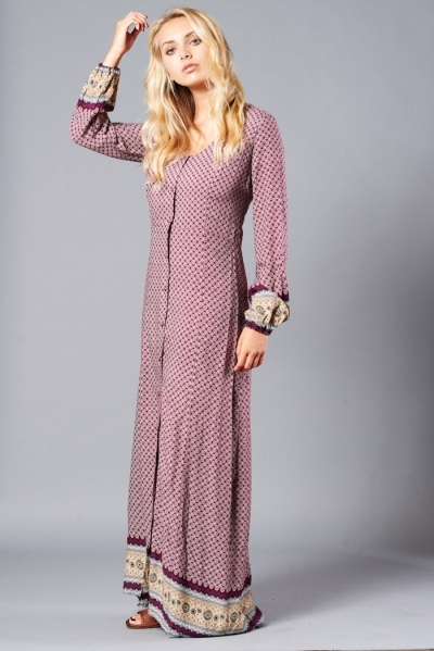 printed burgundy button front maxi dress blue labels boutique