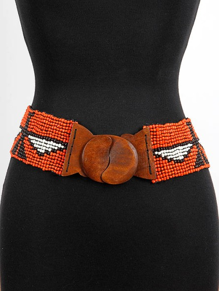 wooden beaded belt with eagle print blue labels boutique
