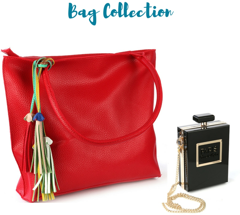 red bag and perfume bottle bag