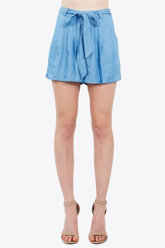 chambray self tie shorts blue labels boutique