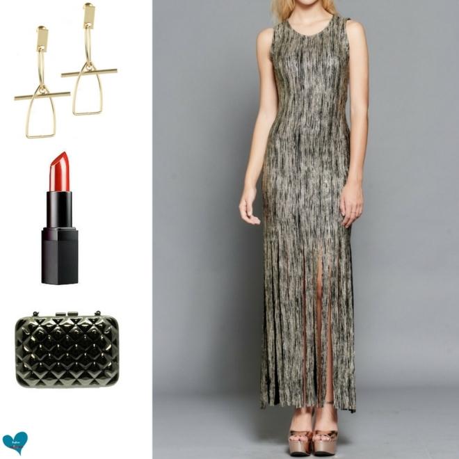gold black fringe dress metal clutch bag red lips