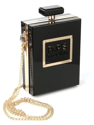 gold black perfume bottle shape bag