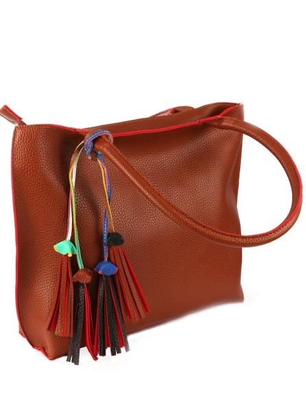 oversized leather handbag with colorful tassel