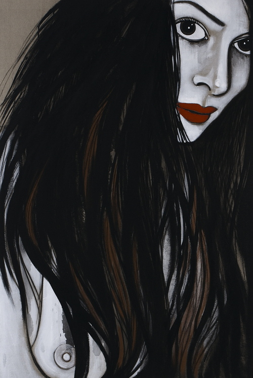 painting of lady wearing red lips by Rebeccah Dent