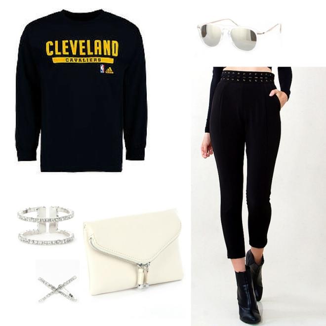 cleveland cavs sweatshirt black trousers white clutch blue labels boutique