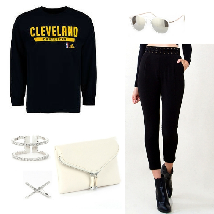cleveland cavs sweatshirt black trousers white clutch blue labels boutique