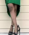 blackgreenwhitecolorblockpleatedskirt